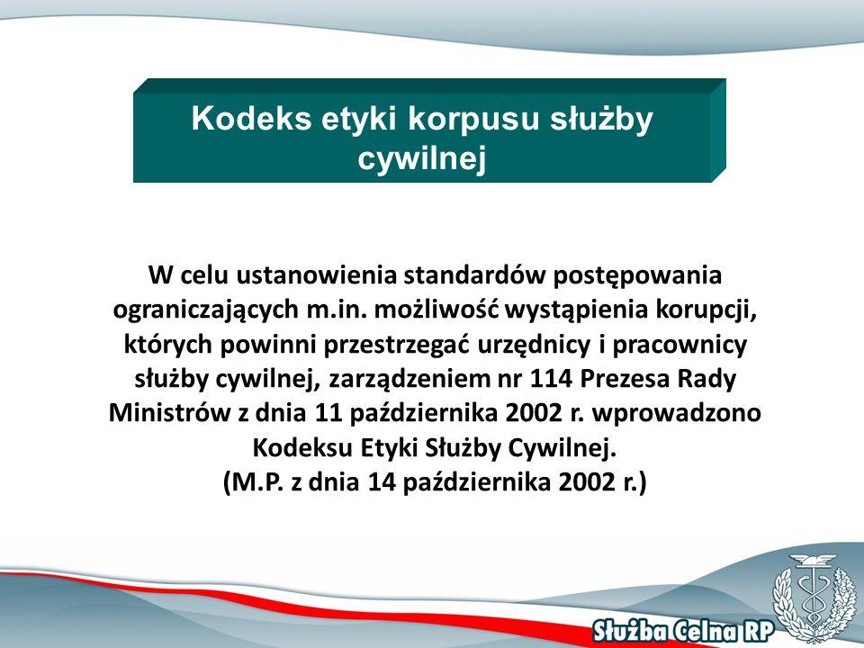 18 Kodeks etyki korpusu służby cywilnej W celu ustanowienia standardów postępowania ograniczających m.in.