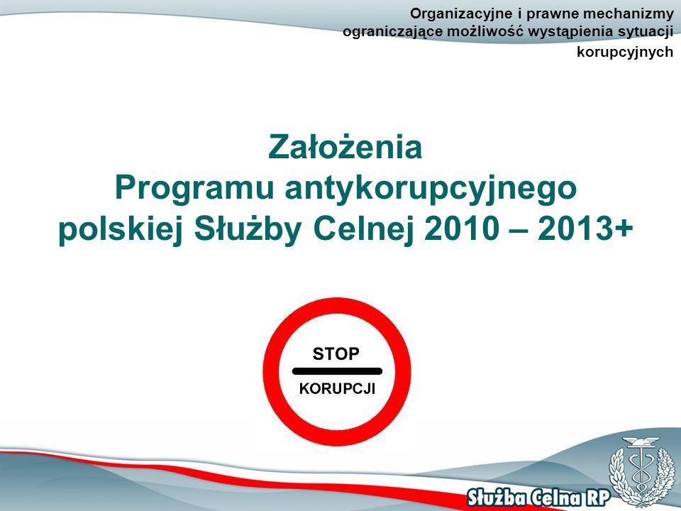 2 Organizacyjne i prawne mechanizmy ograniczające możliwość wystąpienia sytuacji korupcyjnych Założenia Programu antykorupcyjnego polskiej Służby Celnej 2010 – 2013+