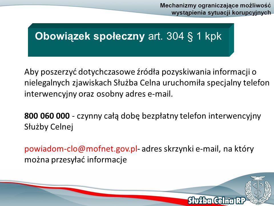20 Mechanizmy ograniczające możliwość wystąpienia sytuacji korupcyjnych Aby poszerzyć dotychczasowe źródła pozyskiwania informacji o nielegalnych zjawiskach Służba Celna uruchomiła specjalny telefon interwencyjny oraz osobny adres e-mail.