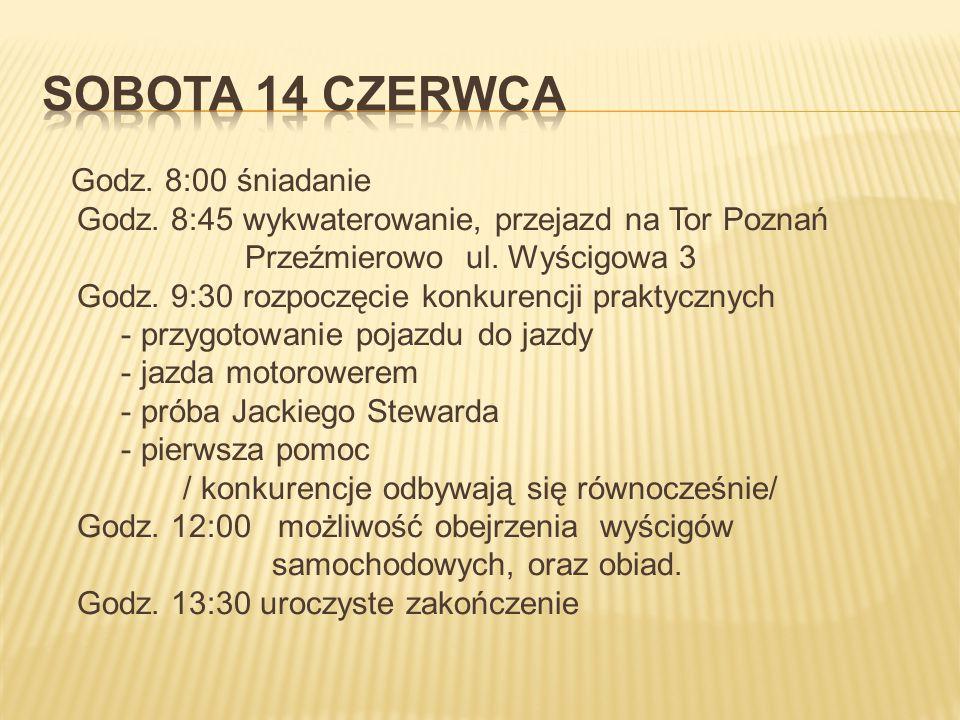Godz. 8:00 śniadanie Godz. 8:45 wykwaterowanie, przejazd na Tor Poznań Przeźmierowo ul.