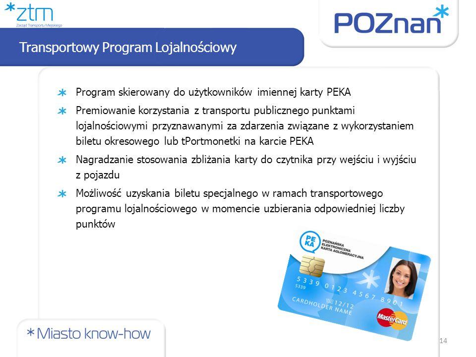 Program skierowany do użytkowników imiennej karty PEKA Premiowanie korzystania z transportu publicznego punktami lojalnościowymi przyznawanymi za zdarzenia związane z wykorzystaniem biletu okresowego lub tPortmonetki na karcie PEKA Nagradzanie stosowania zbliżania karty do czytnika przy wejściu i wyjściu z pojazdu Możliwość uzyskania biletu specjalnego w ramach transportowego programu lojalnościowego w momencie uzbierania odpowiedniej liczby punktów Transportowy Program Lojalnościowy 14