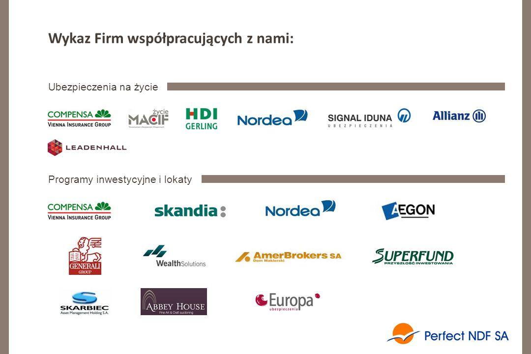 Wykaz Firm współpracujących z nami: Ubezpieczenia na życie Programy inwestycyjne i lokaty
