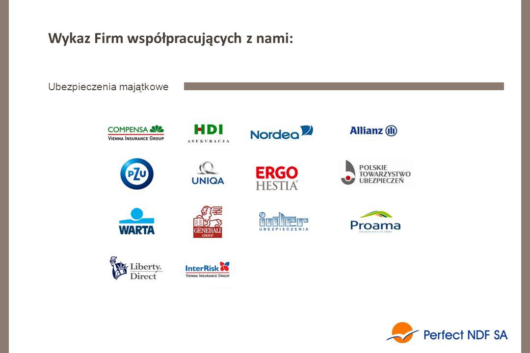 Wykaz Firm współpracujących z nami: Ubezpieczenia majątkowe