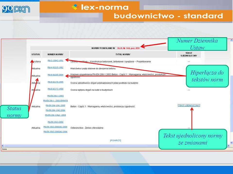 Numer Dziennika Ustaw Status normy Tekst ujednolicony normy ze zmianami Hiperłącza do tekstów norm