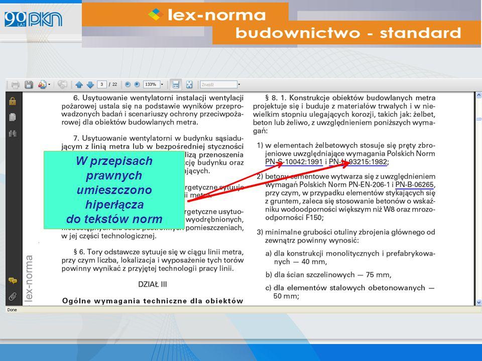 W przepisach prawnych umieszczono hiperłącza do tekstów norm