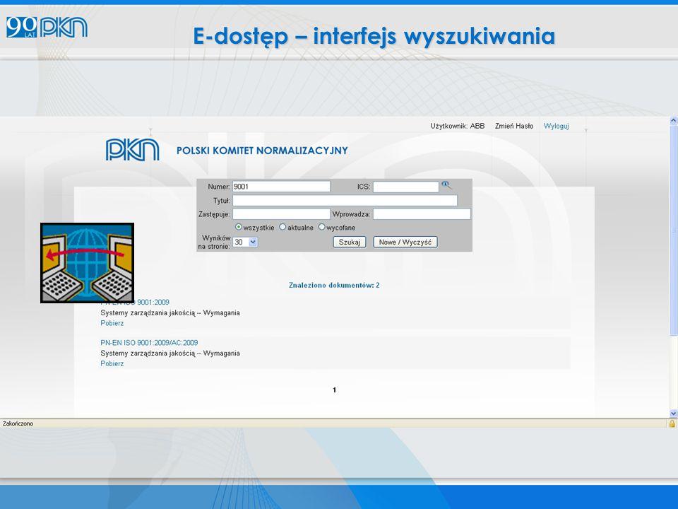 E-dostęp – interfejs wyszukiwania