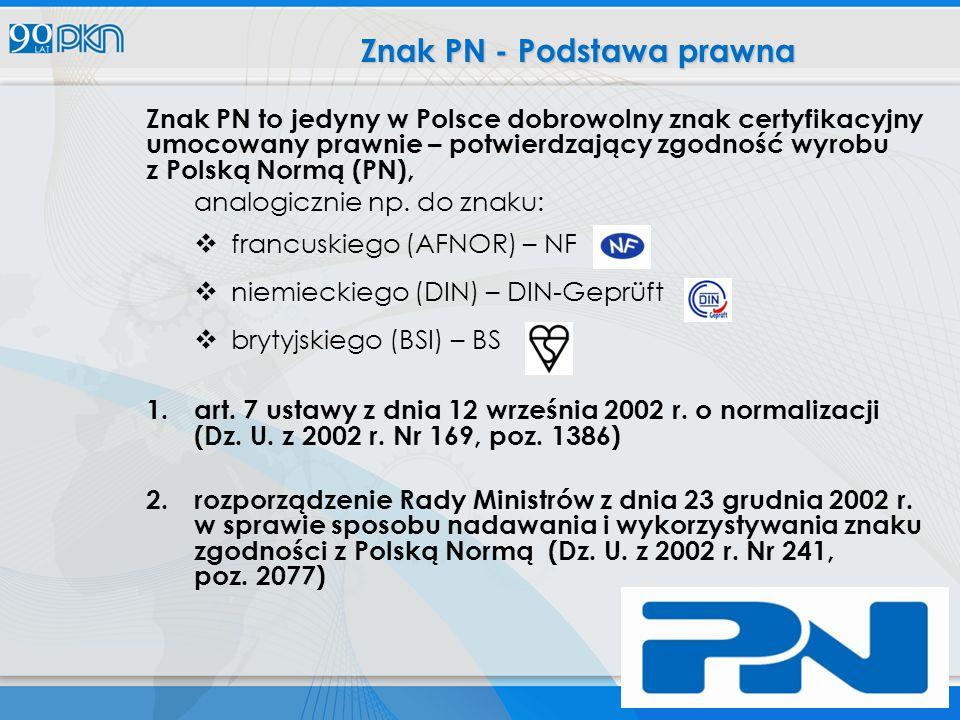 Znak PN to jedyny w Polsce dobrowolny znak certyfikacyjny umocowany prawnie – potwierdzający zgodność wyrobu z Polską Normą (PN), analogicznie np.