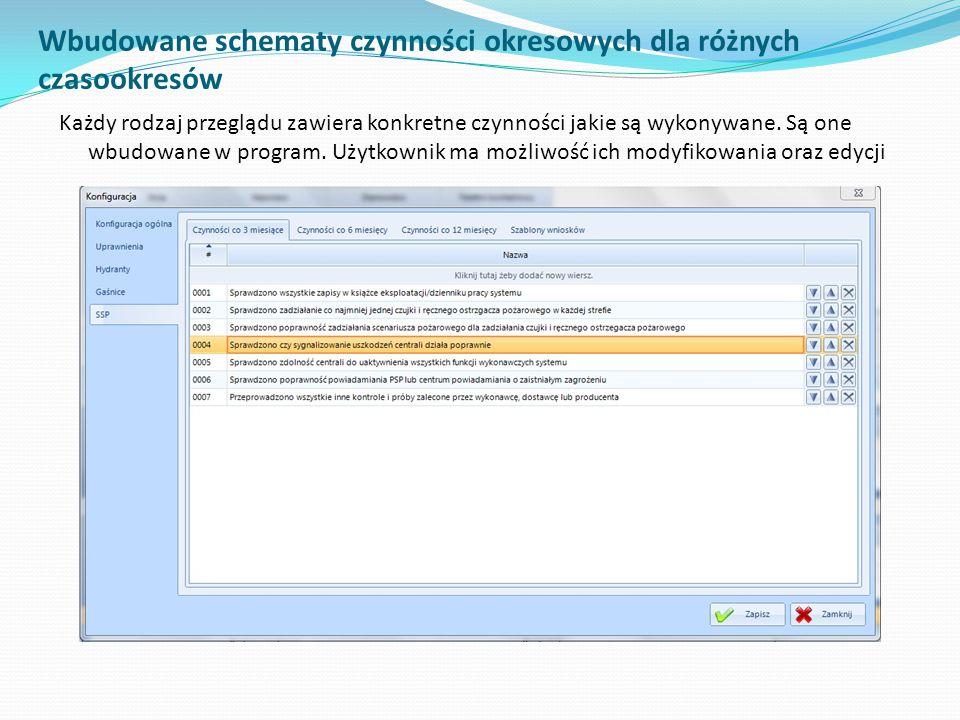 Wbudowane schematy czynności okresowych dla różnych czasookresów Każdy rodzaj przeglądu zawiera konkretne czynności jakie są wykonywane. Są one wbudow