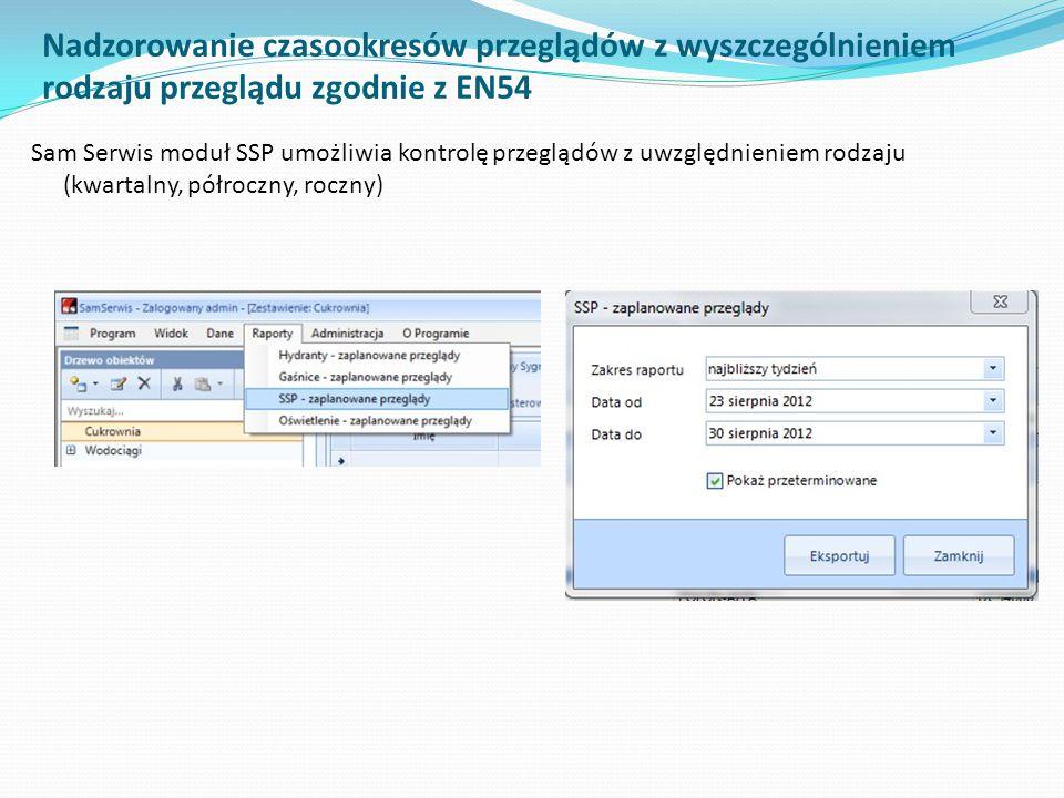 Nadzorowanie czasookresów przeglądów z wyszczególnieniem rodzaju przeglądu zgodnie z EN54 Sam Serwis moduł SSP umożliwia kontrolę przeglądów z uwzględ