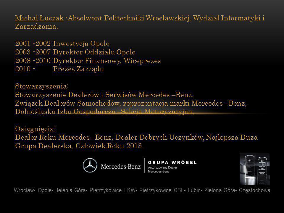 Wrocław- Opole- Jelenia Góra- Pietrzykowice LKW- Pietrzykowice CBL- Lubin- Zielona Góra- Częstochowa Michał Łuczak -Absolwent Politechniki Wrocławskie