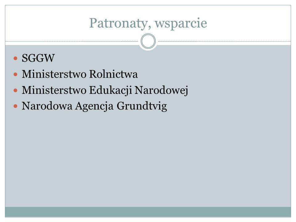 Patronaty, wsparcie SGGW Ministerstwo Rolnictwa Ministerstwo Edukacji Narodowej Narodowa Agencja Grundtvig