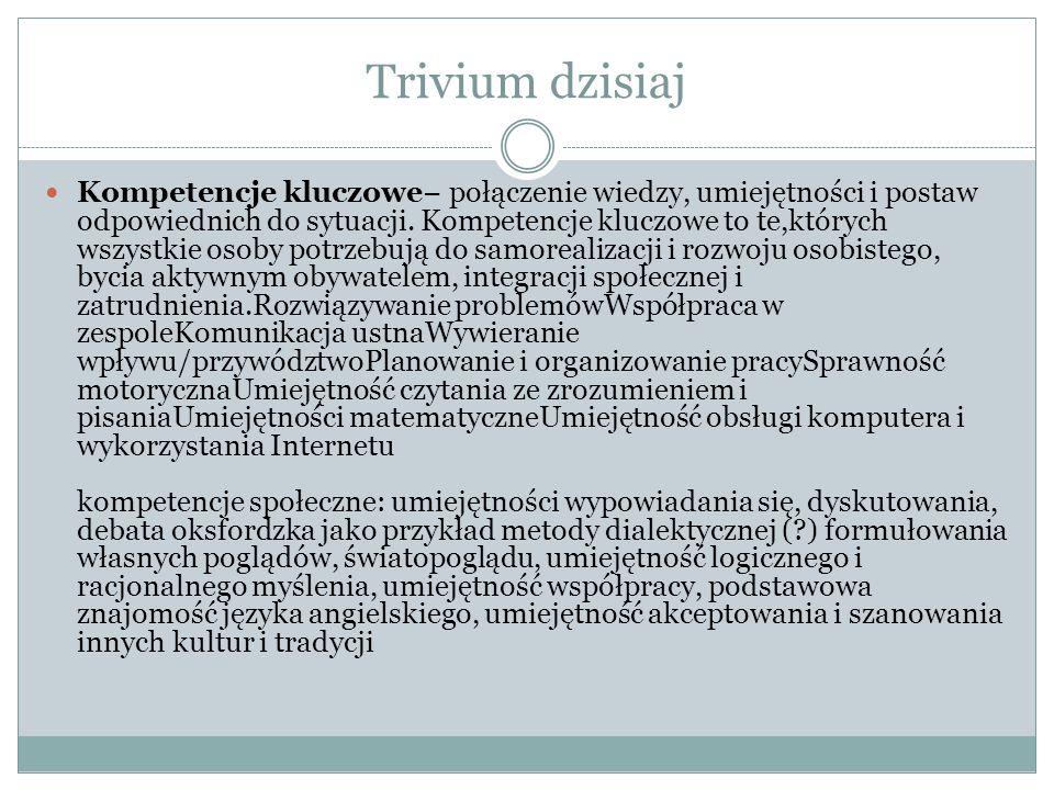 Trivium dzisiaj Kompetencje kluczowe− połączenie wiedzy, umiejętności i postaw odpowiednich do sytuacji.