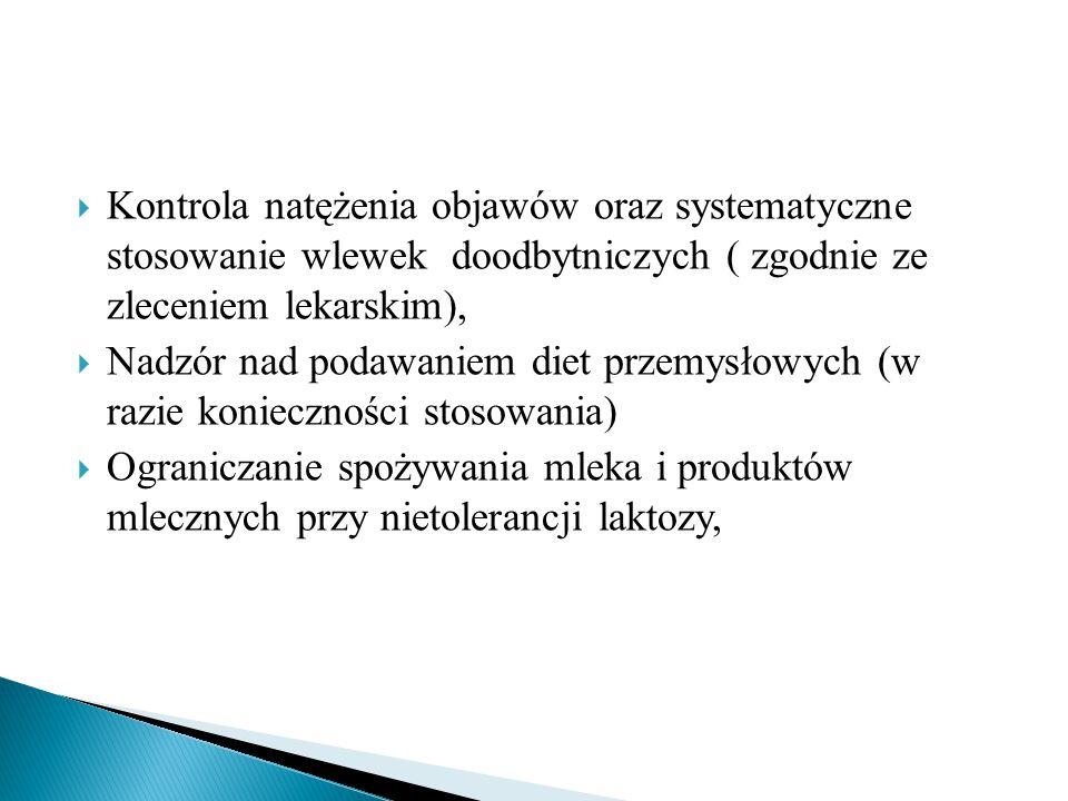  Kontrola natężenia objawów oraz systematyczne stosowanie wlewek doodbytniczych ( zgodnie ze zleceniem lekarskim),  Nadzór nad podawaniem diet przemysłowych (w razie konieczności stosowania)  Ograniczanie spożywania mleka i produktów mlecznych przy nietolerancji laktozy,