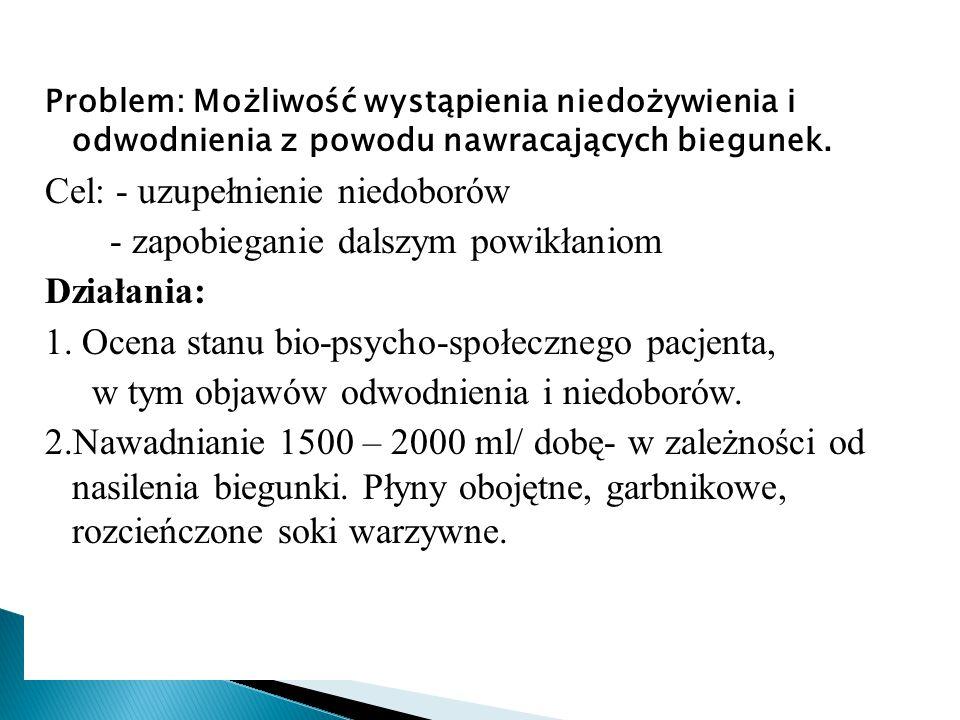Problem: Możliwość wystąpienia niedożywienia i odwodnienia z powodu nawracających biegunek.