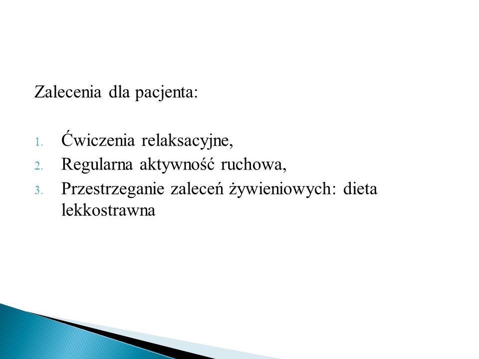 Zalecenia dla pacjenta: 1.Ćwiczenia relaksacyjne, 2.