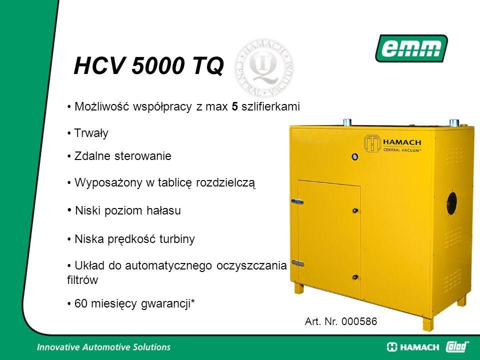 5 Możliwość współpracy z max 5 szlifierkami Art. Nr. 000586 HCV 5000 TQ Trwały Zdalne sterowanie Wyposażony w tablicę rozdzielczą Niski poziom hałasu