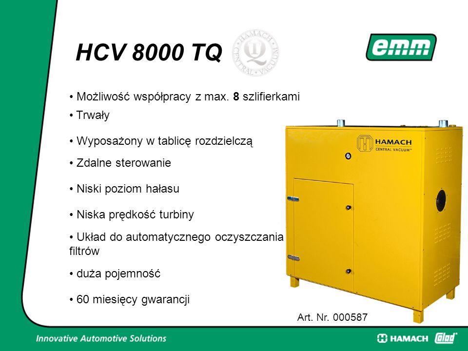HCV 8000 TQ Art. Nr. 000587 8 Możliwość współpracy z max. 8 szlifierkami Trwały Wyposażony w tablicę rozdzielczą Zdalne sterowanie Niski poziom hałasu
