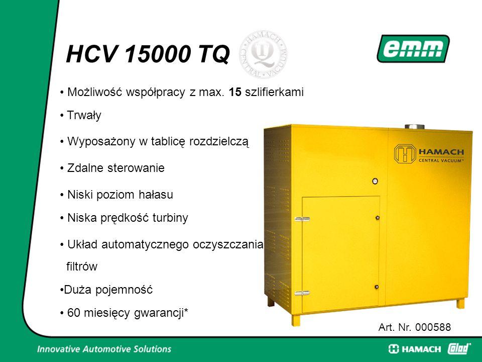 HCV 15000 TQ Art. Nr. 000588 15 szlifierkami Możliwość współpracy z max. 15 szlifierkami Trwały Wyposażony w tablicę rozdzielczą Zdalne sterowanie Nis