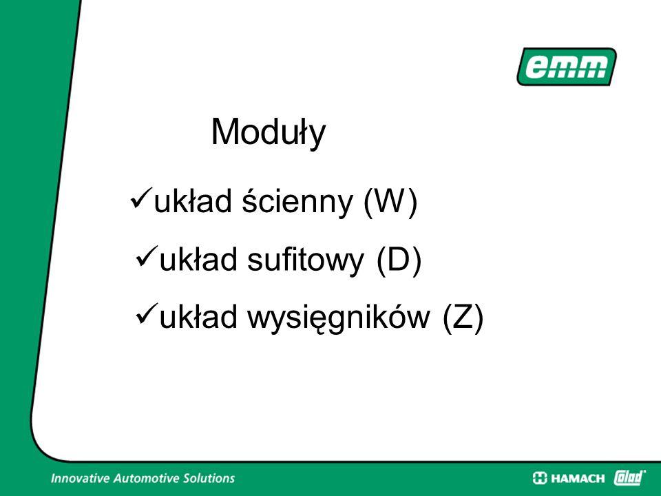 Moduły układ ścienny (W) układ sufitowy (D) układ wysięgników (Z)