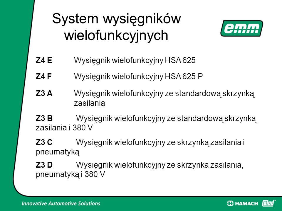 System wysięgników wielofunkcyjnych Z4 EWysięgnik wielofunkcyjny HSA 625 Z4 FWysięgnik wielofunkcyjny HSA 625 P Z3 AWysięgnik wielofunkcyjny ze standardową skrzynką zasilania Z3 B Wysięgnik wielofunkcyjny ze standardową skrzynką zasilania i 380 V Z3 C Wysięgnik wielofunkcyjny ze skrzynką zasilania i pneumatyką Z3 D Wysięgnik wielofunkcyjny ze skrzynka zasilania, pneumatyką i 380 V