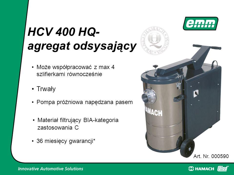 HCV 400 HQ- agregat odsysający Art. Nr. 000590 Może współpracować z max 4 szlifierkami równocześnie Trwały Pompa próżniowa napędzana pasem Materiał fi