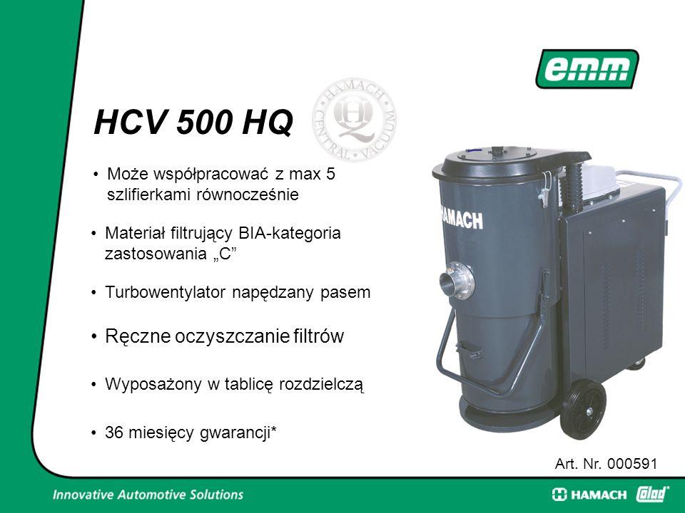 """HCV 500 HQ Może współpracować z max 5 szlifierkami równocześnie Art. Nr. 000591 Materiał filtrujący BIA-kategoria zastosowania """"C"""" Turbowentylator nap"""