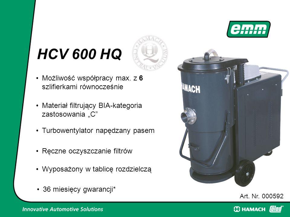 """HCV 600 HQ Art. Nr. 000592 6Możliwość współpracy max. z 6 szlifierkami równocześnie Materiał filtrujący BIA-kategoria zastosowania """"C"""" Turbowentylator"""