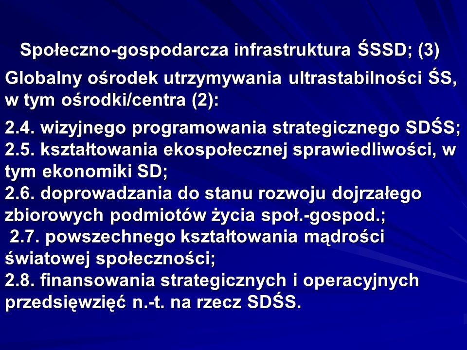Społeczno-gospodarcza infrastruktura ŚSSD; (3) Globalny ośrodek utrzymywania ultrastabilności ŚS, w tym ośrodki/centra (2): 2.4.