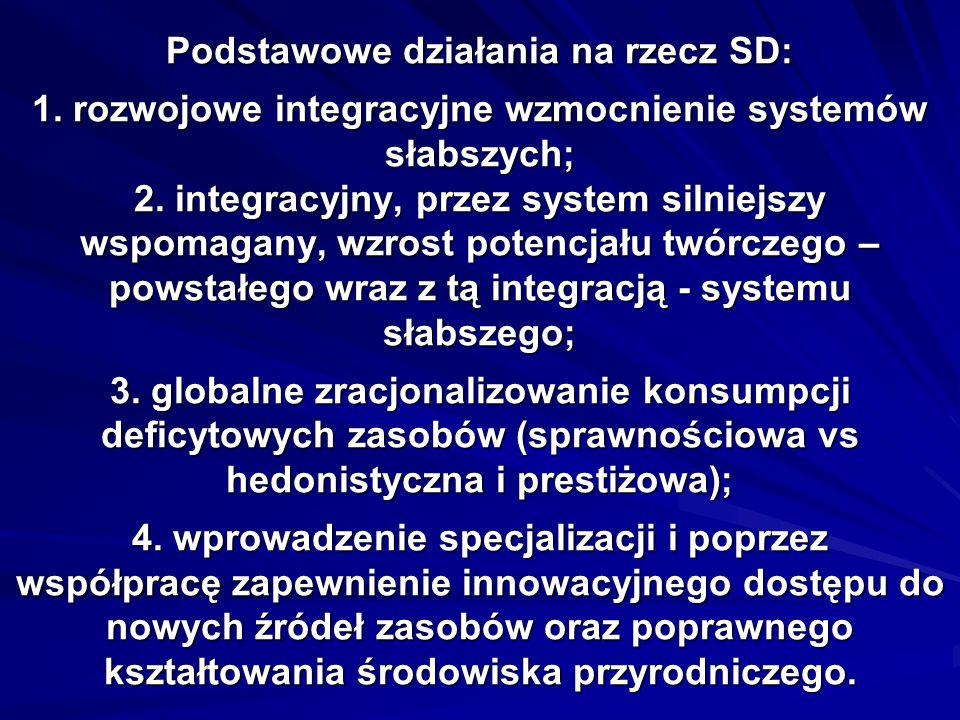 Podstawowe działania na rzecz SD: 1. rozwojowe integracyjne wzmocnienie systemów słabszych; 2.