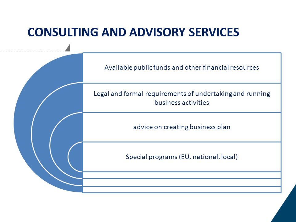CONSULTING AND ADVISORY SERVICES Available public funds and other financial resources Legal and formal requirements of undertaking and running business activities advice on creating business plan Special programs (EU, national, local)