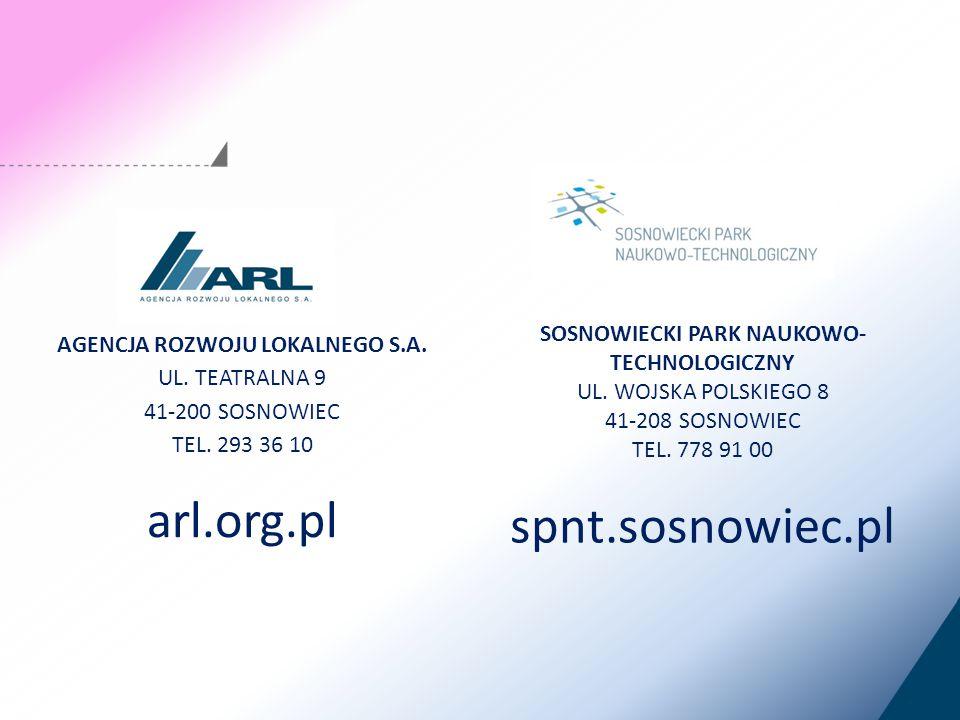 AGENCJA ROZWOJU LOKALNEGO S.A. UL. TEATRALNA 9 41-200 SOSNOWIEC TEL.