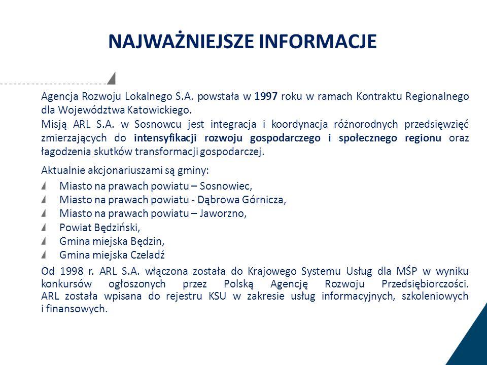 Agencja Rozwoju Lokalnego S.A. powstała w 1997 roku w ramach Kontraktu Regionalnego dla Województwa Katowickiego. Misją ARL S.A. w Sosnowcu jest integ