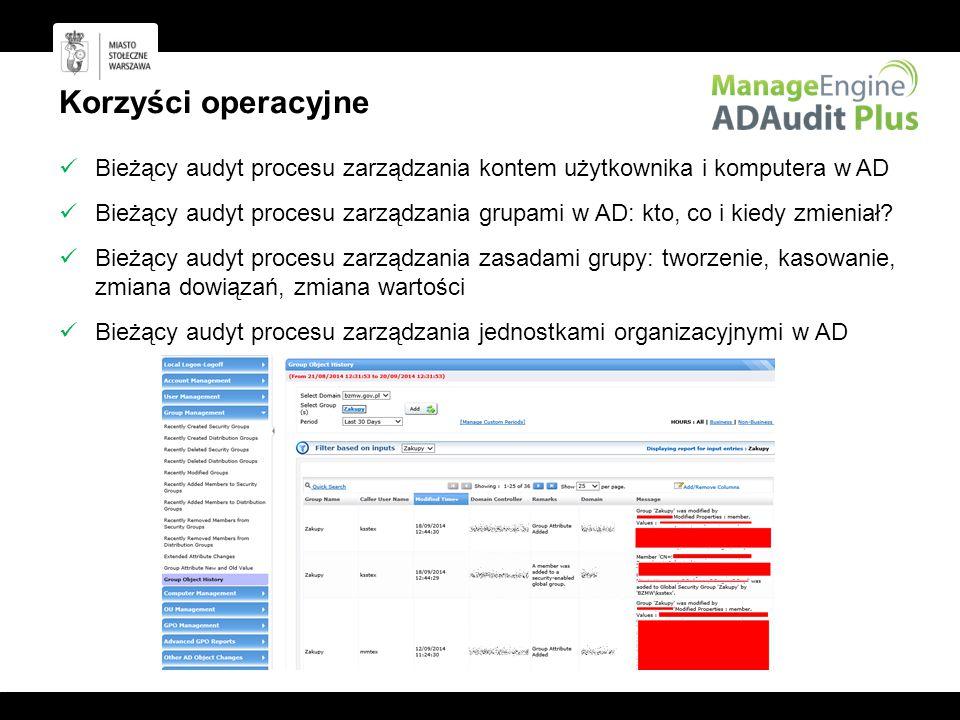 Korzyści operacyjne Bieżący audyt procesu zarządzania kontem użytkownika i komputera w AD Bieżący audyt procesu zarządzania grupami w AD: kto, co i kiedy zmieniał.
