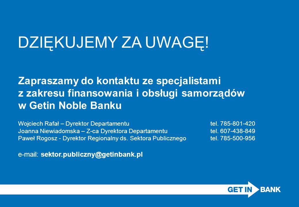 DZIĘKUJEMY ZA UWAGĘ! Zapraszamy do kontaktu ze specjalistami z zakresu finansowania i obsługi samorządów w Getin Noble Banku Wojciech Rafał – Dyrektor