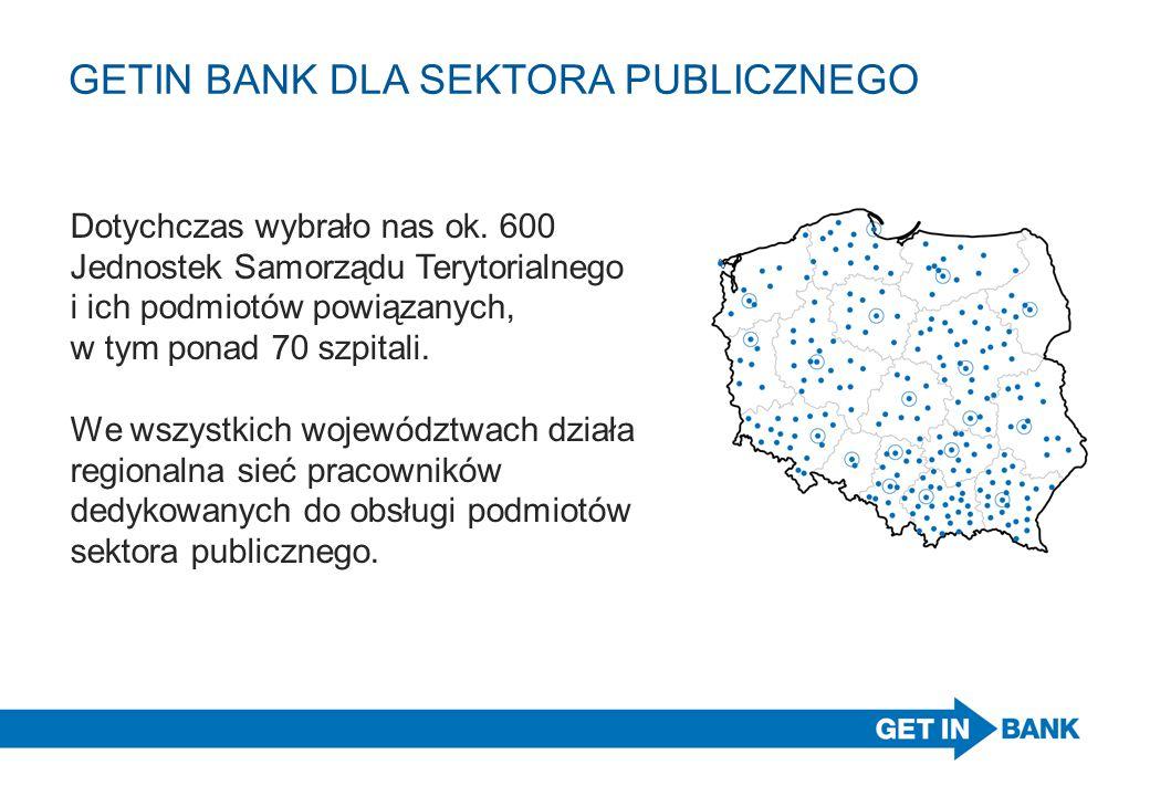 GETIN BANK DLA SEKTORA PUBLICZNEGO Dotychczas wybrało nas ok. 600 Jednostek Samorządu Terytorialnego i ich podmiotów powiązanych, w tym ponad 70 szpit