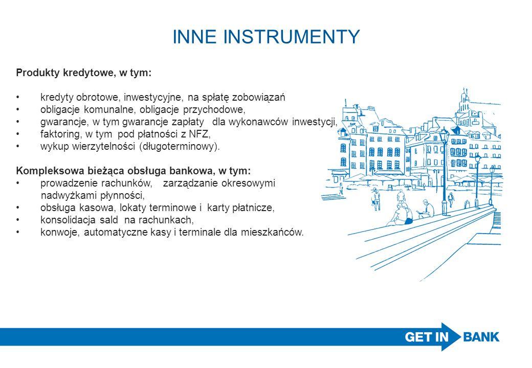 INNE INSTRUMENTY Produkty kredytowe, w tym: kredyty obrotowe, inwestycyjne, na spłatę zobowiązań obligacje komunalne, obligacje przychodowe, gwarancje