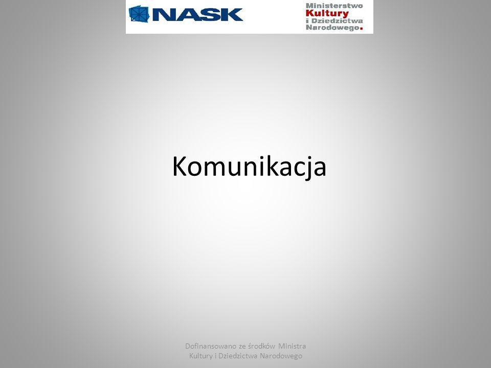 Dofinansowano ze środków Ministra Kultury i Dziedzictwa Narodowego Komunikacja w Internecie Komunikator internetowy to program komputerowy pozwalający na przesyłanie natychmiastowych komunikatów pomiędzy dwoma lub większą liczbą komputerów, poprzez sieć komputerową, zazwyczaj Internet (dlatego komunikatory internetowe).