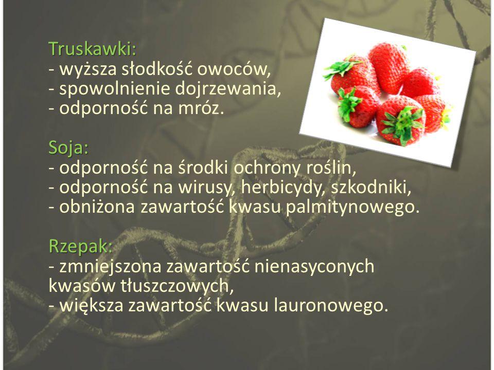 Truskawki: Soja: Rzepak: Truskawki: - wyższa słodkość owoców, - spowolnienie dojrzewania, - odporność na mróz.