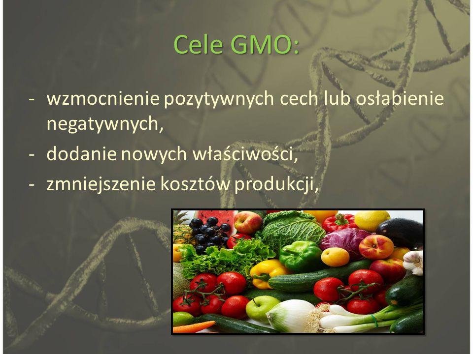 Cele GMO: -wzmocnienie pozytywnych cech lub osłabienie negatywnych, -dodanie nowych właściwości, -zmniejszenie kosztów produkcji,
