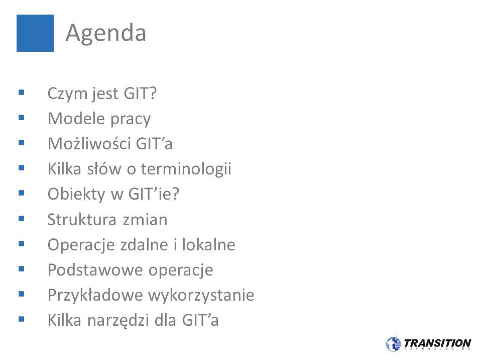  Czym jest GIT?  Modele pracy  Możliwości GIT'a  Kilka słów o terminologii  Obiekty w GIT'ie?  Struktura zmian  Operacje zdalne i lokalne  Pod
