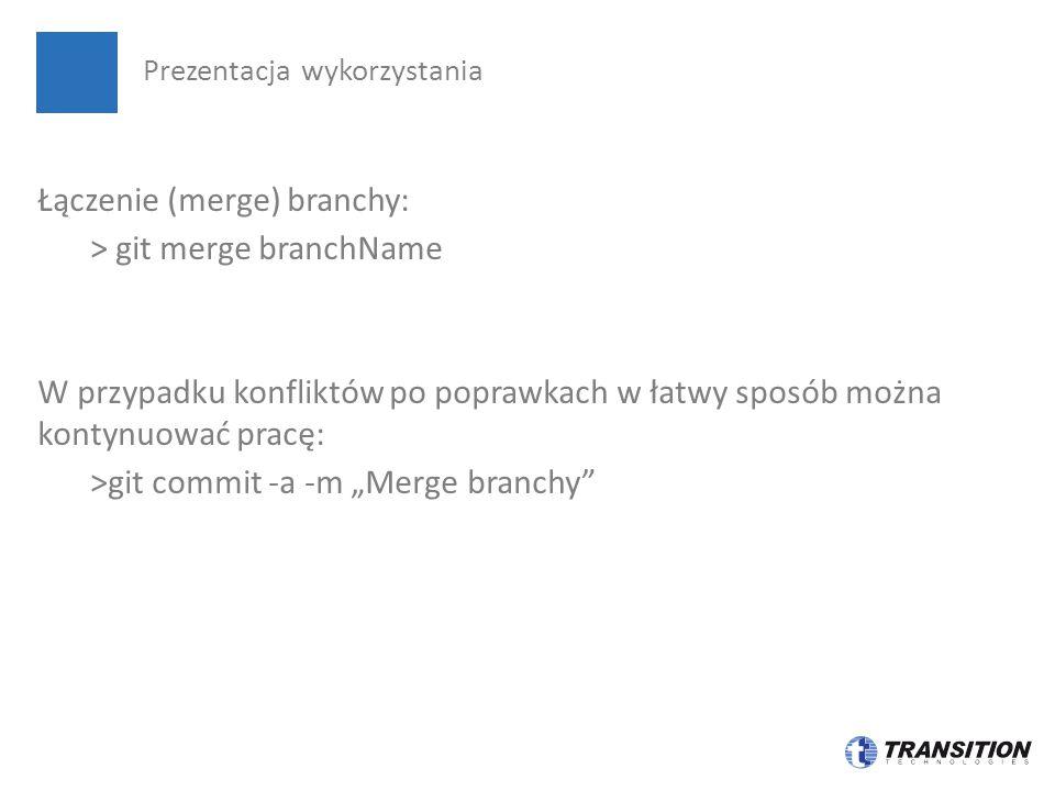 """Łączenie (merge) branchy: > git merge branchName W przypadku konfliktów po poprawkach w łatwy sposób można kontynuować pracę: >git commit -a -m """"Merge"""