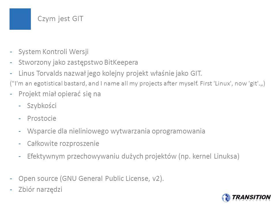 -System Kontroli Wersji -Stworzony jako zastępstwo BitKeepera -Linus Torvalds nazwał jego kolejny projekt właśnie jako GIT. (
