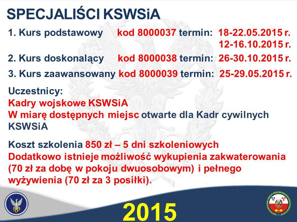 1.Kurs podstawowy kod 8000037 termin: 18-22.05.2015 r.