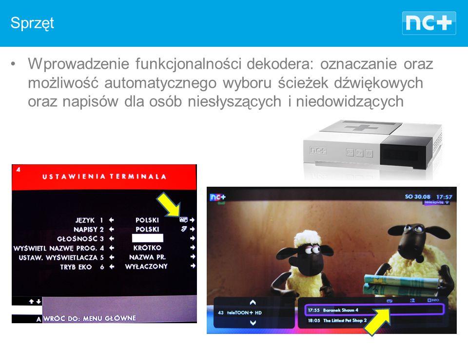 Sprzęt Wprowadzenie funkcjonalności dekodera: oznaczanie oraz możliwość automatycznego wyboru ścieżek dźwiękowych oraz napisów dla osób niesłyszących