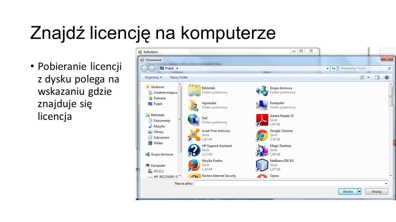 """Logowanie na licencje Po kliknięciu """"Przejdź przy aktywnej licencji"""
