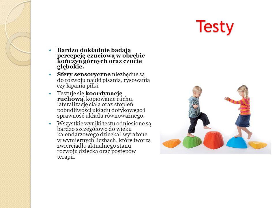 Testy Testy Bardzo dokładnie badają percepcję czuciową w obrębie kończyn górnych oraz czucie głębokie. Sfery sensoryczne niezbędne są do rozwoju nauki