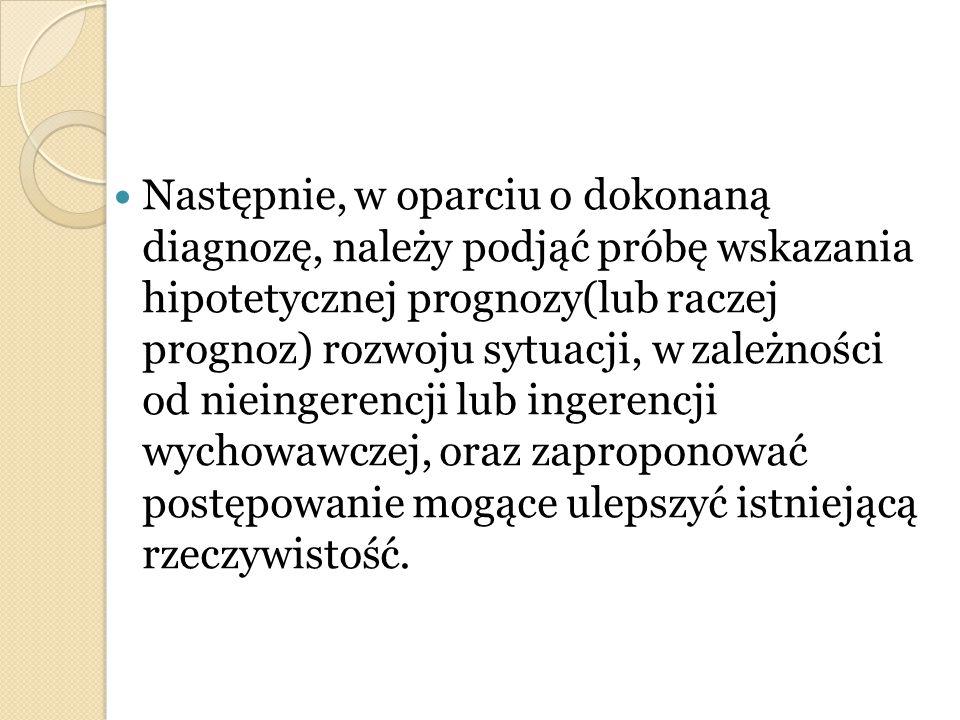 Następnie, w oparciu o dokonaną diagnozę, należy podjąć próbę wskazania hipotetycznej prognozy(lub raczej prognoz) rozwoju sytuacji, w zależności od n