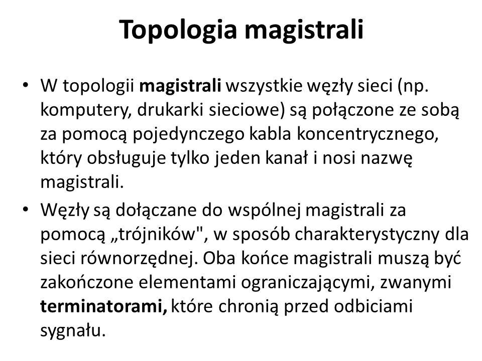 Topologia magistrali W topologii magistrali wszystkie węzły sieci (np.