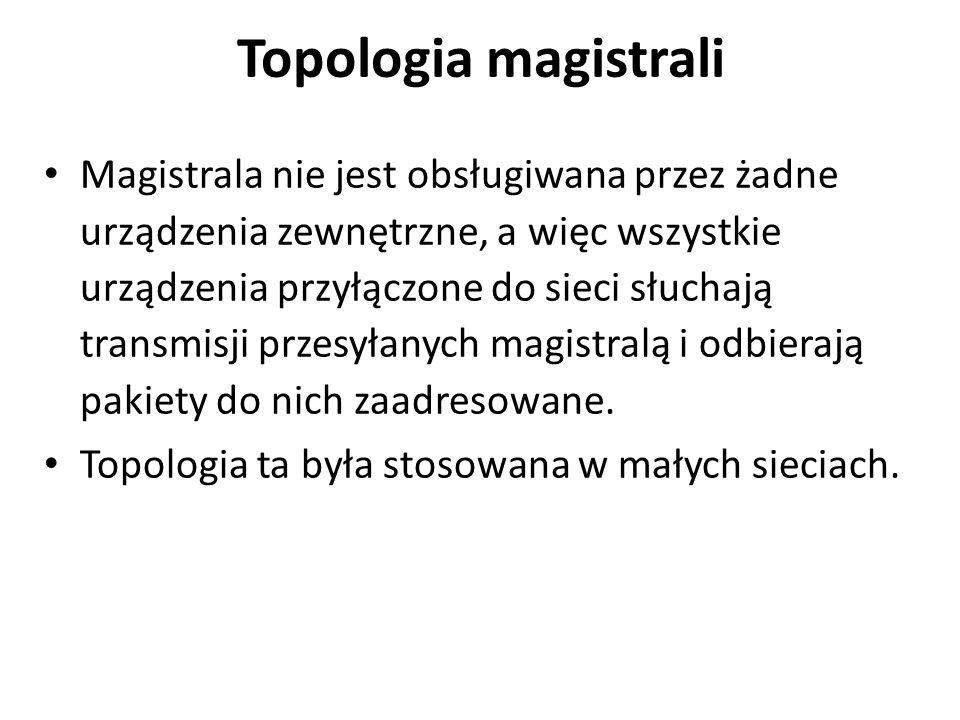 Topologia magistrali Magistrala nie jest obsługiwana przez żadne urządzenia zewnętrzne, a więc wszystkie urządzenia przyłączone do sieci słuchają transmisji przesyłanych magistralą i odbierają pakiety do nich zaadresowane.