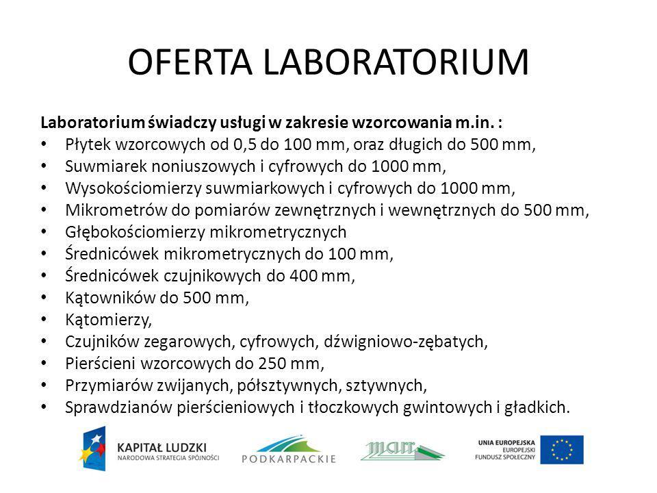OFERTA LABORATORIUM Laboratorium świadczy usługi w zakresie wzorcowania m.in. : Płytek wzorcowych od 0,5 do 100 mm, oraz długich do 500 mm, Suwmiarek